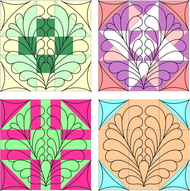 Feather block quilting stencil by Fairy Quilt