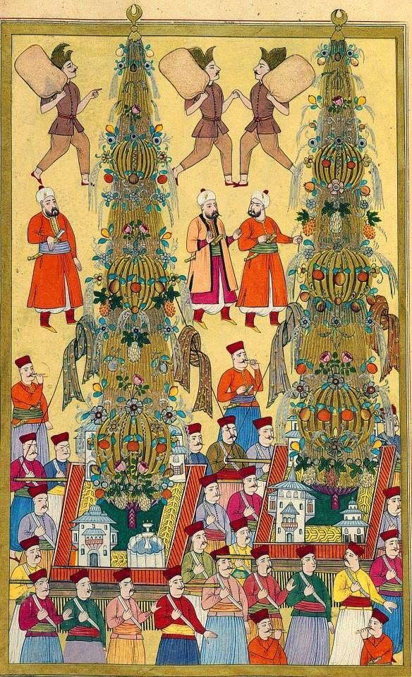 Surname-i Vehbi'den Levni minyatürü ile Nahıl ve Nahılbentler. 1720