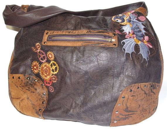 sac sacs bag Bags Purses Purse Embroidered steampunk brown brun gears gear cogs cog rouage rouages engrenage engrenages pocket poche handbag main sacoche saccoche koi fish poisson chat gold goldish or doré clockwork horloge cuir leather studd clous embroidery embroideries zipper metal métal fils thread rivet broderie broderies pochettes brodé steampunk brown brun handmade fait main hand craft artisan artisanat handcraft