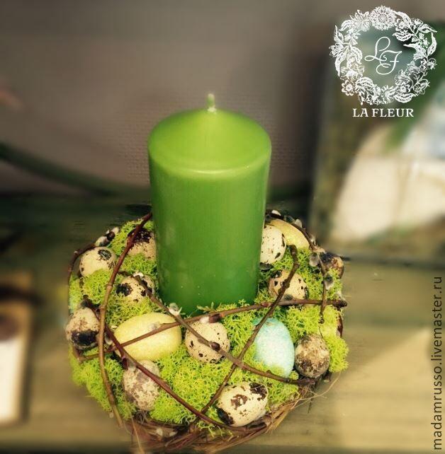 Купить композиция со свечой - зеленый, венок из цветов, венок ручной работы