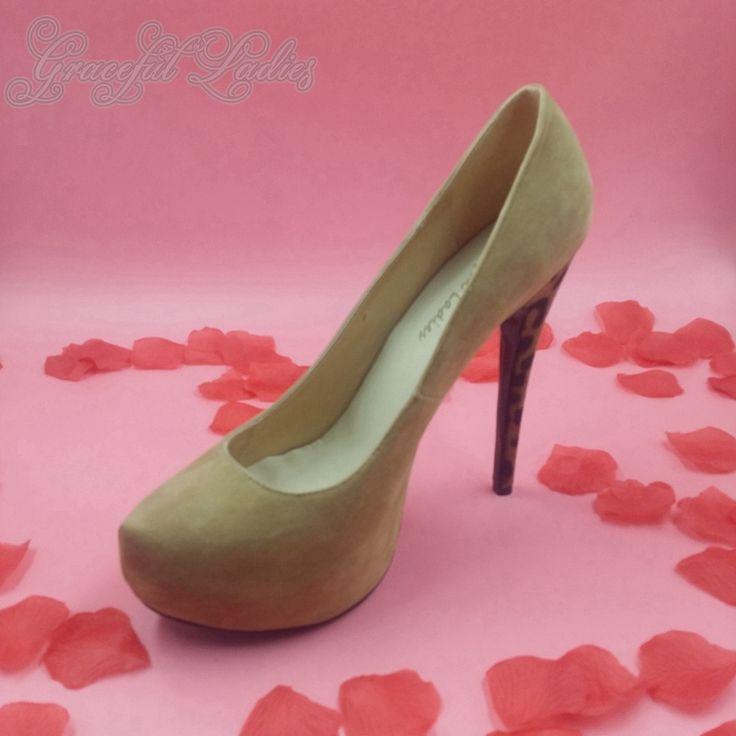 89.00$  Buy now - http://aliscn.worldwells.pw/go.php?t=32633540089 - Khaki Suede Platform Women Pumps Classical High Heels Leopard Plus Size Ladies Shoes Closed Toe Nubuck Leather 2016 New Arrival