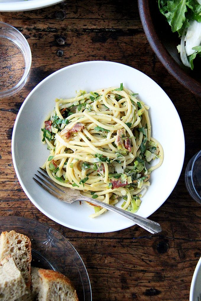 Valentine's Day Menu: Bucatini Carbonara with Leeks & Lemon | Arugula & Endive Salad | Double Chocolate Cake - Alexandra's Kitchen