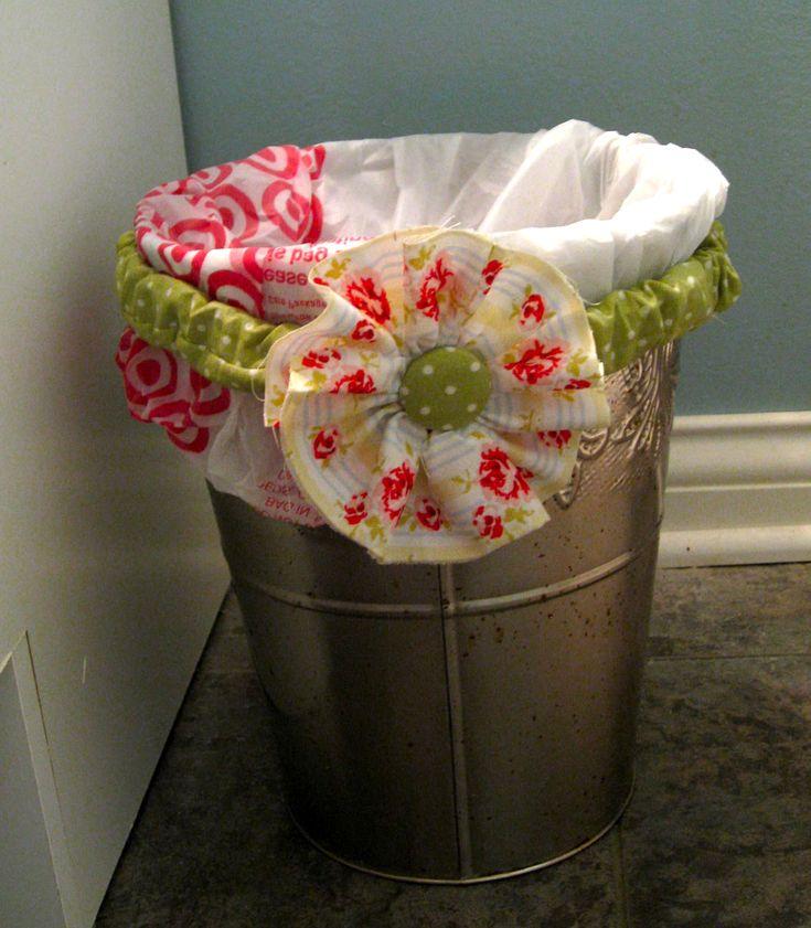 Sweet Floweret: Little Garbage Can Bag Holder Upper Tutorial