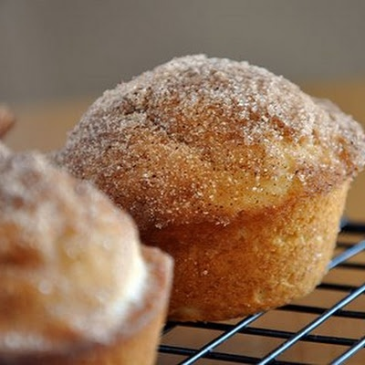 French Toast Breakfast Muffins- sooo good. I added 2/3 cup milk instead of 1/2 cup. Thick. Dense. Doughnut/cake-like muffin.