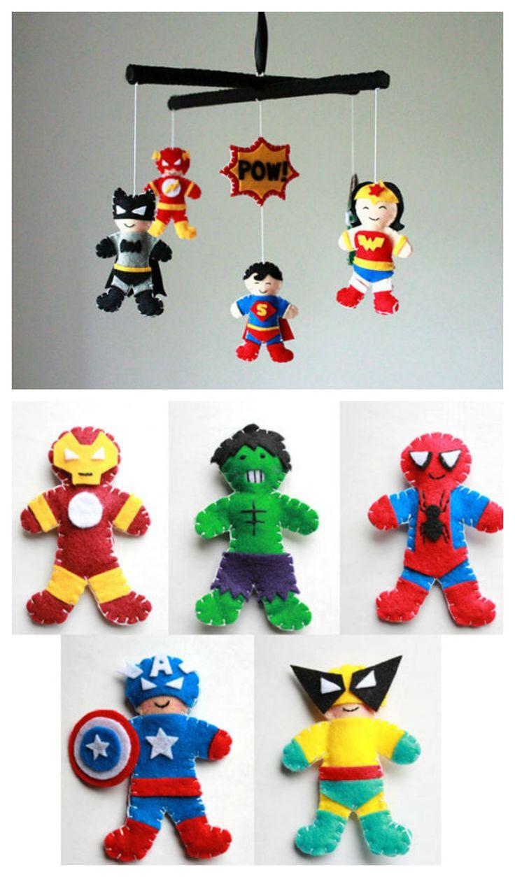 Déco enfants - Mobiles originaux en feutrine thème super-héros - J'adore!
