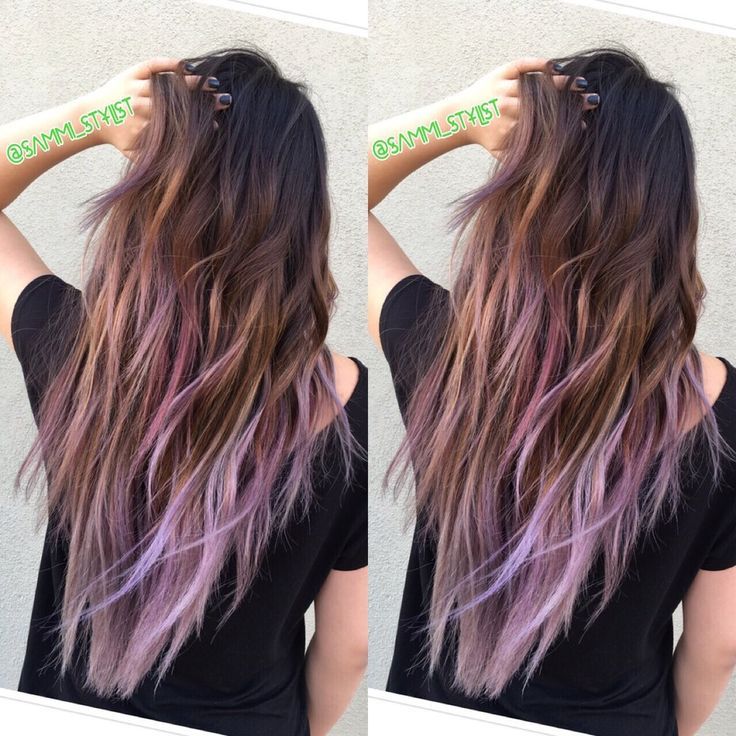 Embellish First Avenue - Arcadia, CA, United States. Balayage ombre of Ash Brown with lilac tips.