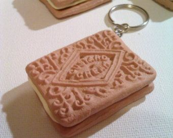 Custard Cream biscuit keyring - unique novelty gift!