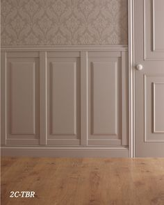 Ultimate Ideas Of Home Wall Paneling Styles Design Plan : Amazing Decorating Ideas Of Home Wall Paneling Styles Design Plan Using White Recessed Wainscot Wall Panel And Grey Pattern Wallpaper Also White Wooden Door