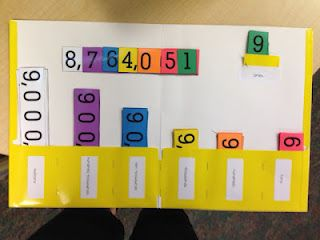 Teaching decimals & place value using a folder with number inserts. Great idea! (Dead pin)