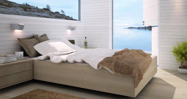 Master Bedroom Cabin  http://www.sommarnojen.se #sommarnojen #scandinavia #interior #bedroom #archipelago #view #sommarhus #fritidshus #naturmaterial #skandinaviskdesign #skandinaviskarkitektur