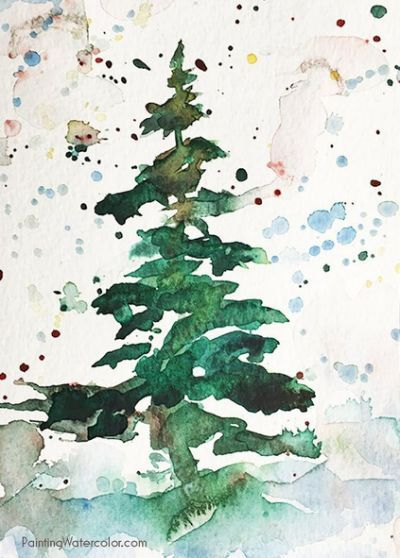 Christmas Card tree watercolor