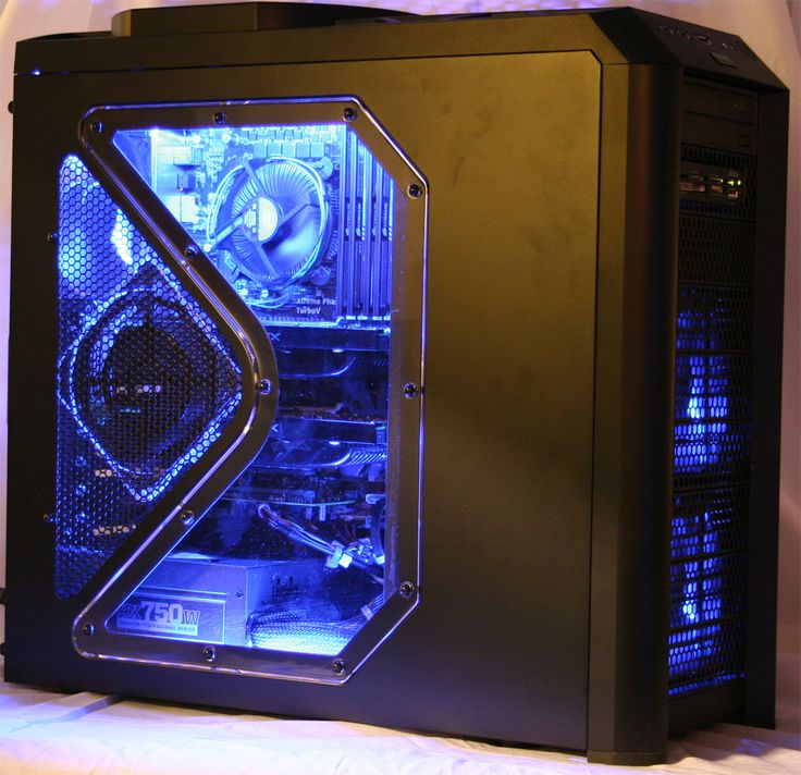With a blue lighting kit, Blue Cable Management, 2 x ATI 4890 Graphics  cards · Gaming PcsGaming ...