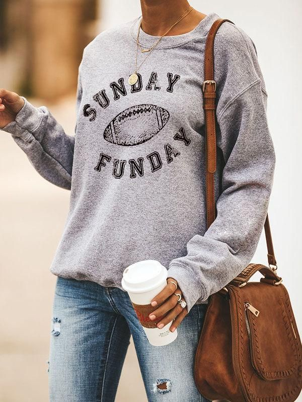 Football Season Sunday Funday Graphic Design Crew Neck Sweatshirt
