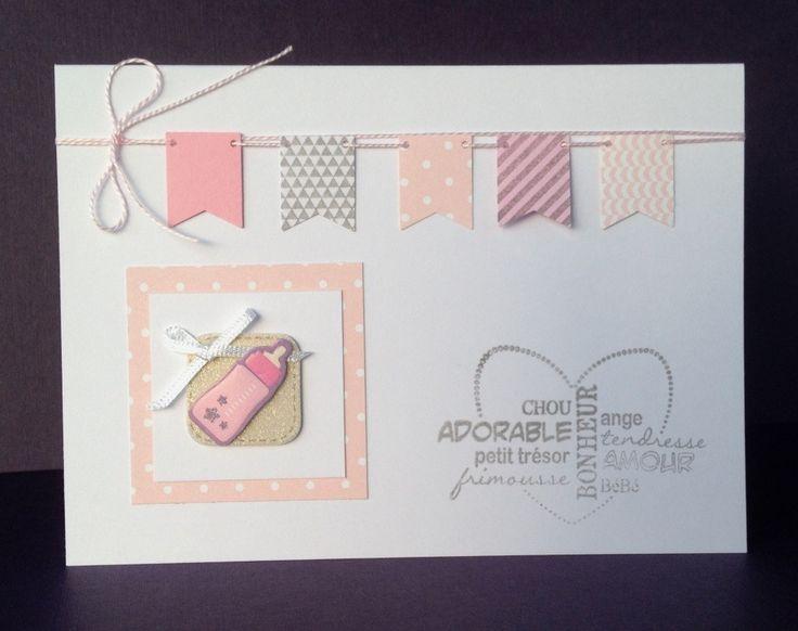 Carte Naissance - Félicitations - Sticker biberon - Fanions : Cartes par atelier-des-mille-cartes