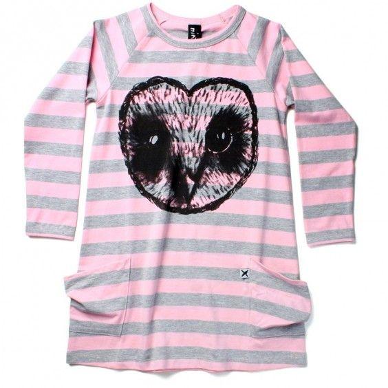 Minti Heart Owl Mystery Dress - Pink/Grey