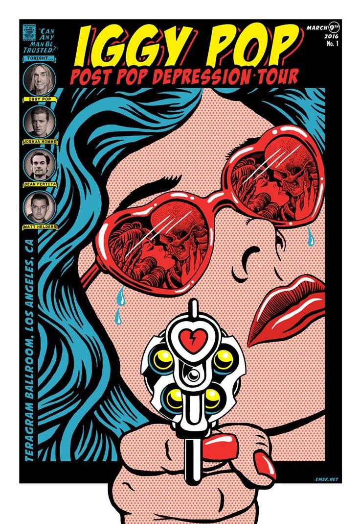 Iggy Pop, Los Angeles 2015 surprise concert poster by Emek
