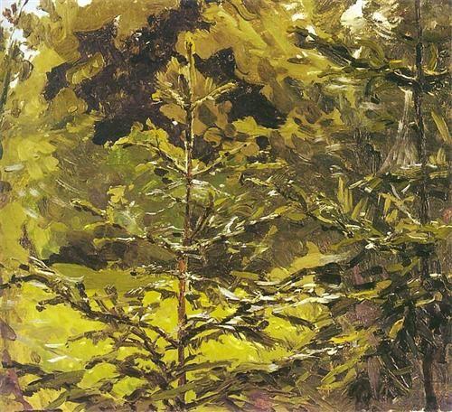 Ferdynand Ruszczyc (Polish, 1870-1936), Fragment lasu
