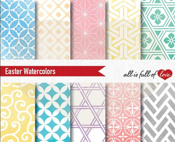 Easter Patterns Watercolor Graphics by All is full of Love on @creativemarket