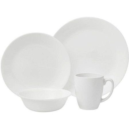 Corelle Livingware Durable Glass Dinnerware Winter Frost White - 16 CT