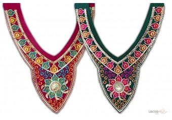 This Neck Designs ( salwar neck designs ) comes with Embroidery , Sequence decoration widely used by Apparel & Clothing Industry