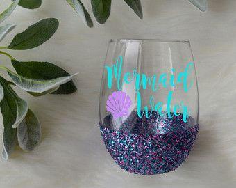 Mermaid Juice Mermaid Glass Mermaid Wine by TheSugarCreekShoppe
