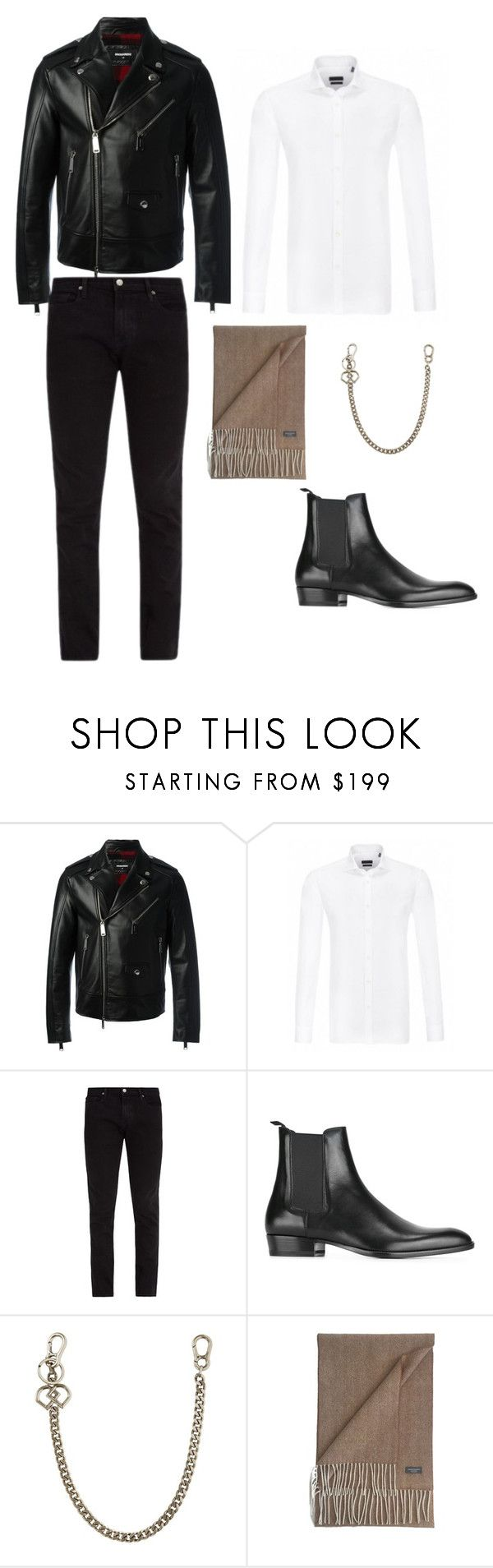 """Leather biker outfit"" by eda-kunics on Polyvore featuring Dsquared2, Frame, Yves Saint Laurent, James Cavolini, men's fashion and menswear"