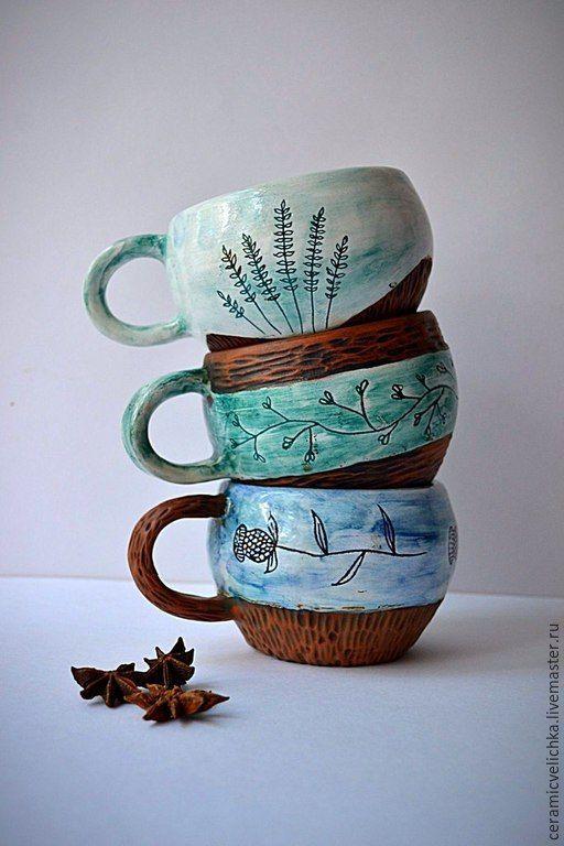 Купить Кружки 300мл - разноцветный, подарки, кружки, Керамика, глазурь, растения, нежность