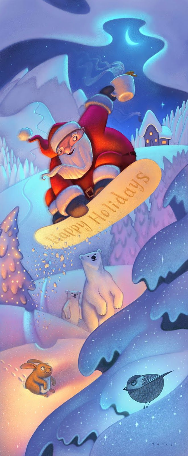 Painting Color & Light Class at http://schoolofvisualstorytelling.bigcartel.com/ Learn how to add luminosity to your illustrations in our 6 week course! Santa is riding his snowboard this Christmas. Illustration by will terry children's book illustrator, app creator, UVU teacher and SVS instructor. http://www.willterry.blogspot.com/