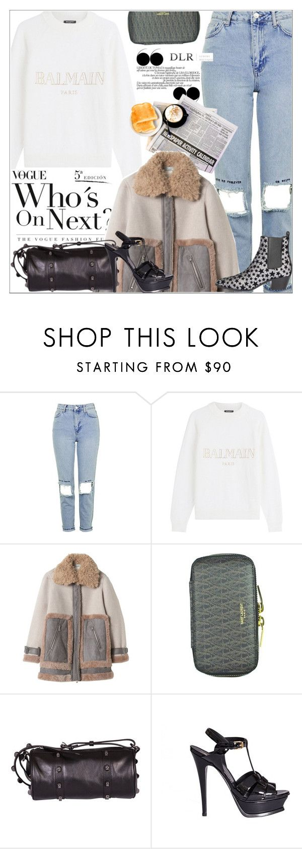 """""""DLRBOUTIQUE.COM"""" by mirachu-1 on Polyvore featuring Topshop, Balmain, Rebecca Taylor, Yves Saint Laurent and Borbonese"""