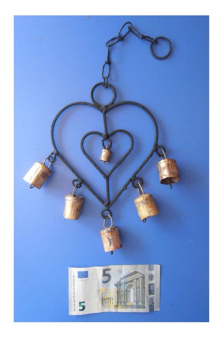 Pendente in metallo 2 cuori 6 campanelle, artigianato indiano   eBay