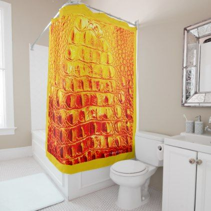 "VINTAGE ""HORNBACK"" ALLIGATOR IN SUNNY ORANGE SHOWER CURTAIN - watercolor gifts style unique ideas diy"