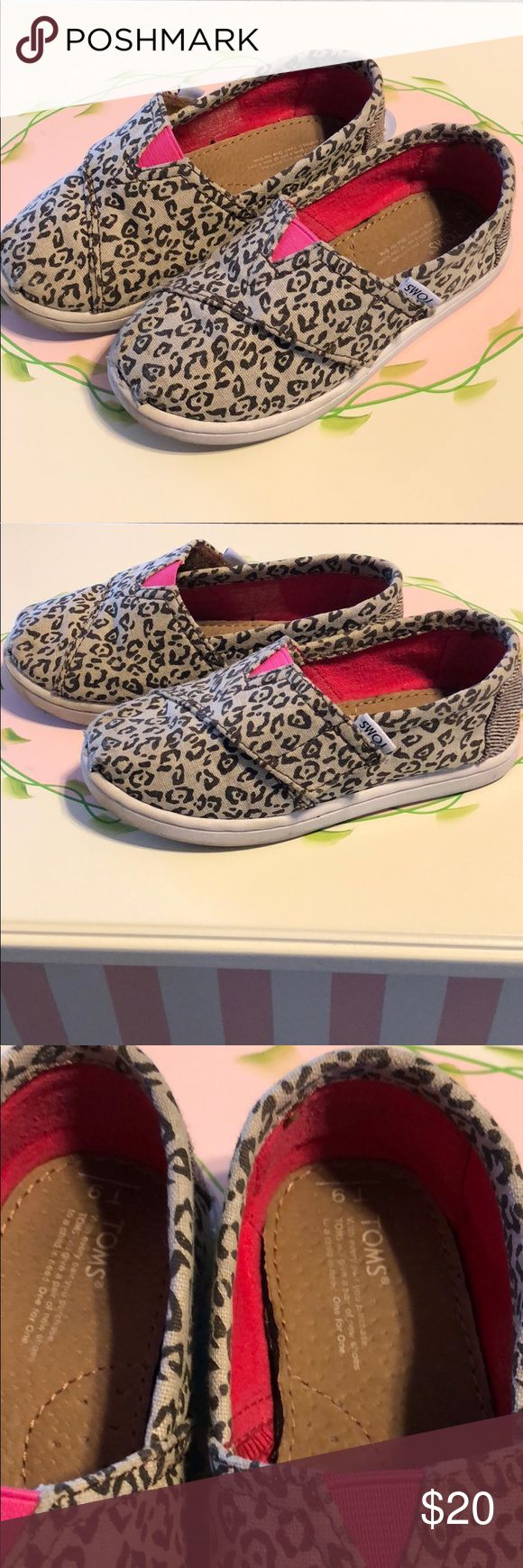 Tiny Toms size 9 EUC Toms classic. Adorable leopard print with a tiny bit of sparkle. Size T9 EUC comes in original box Toms Shoes Sneakers