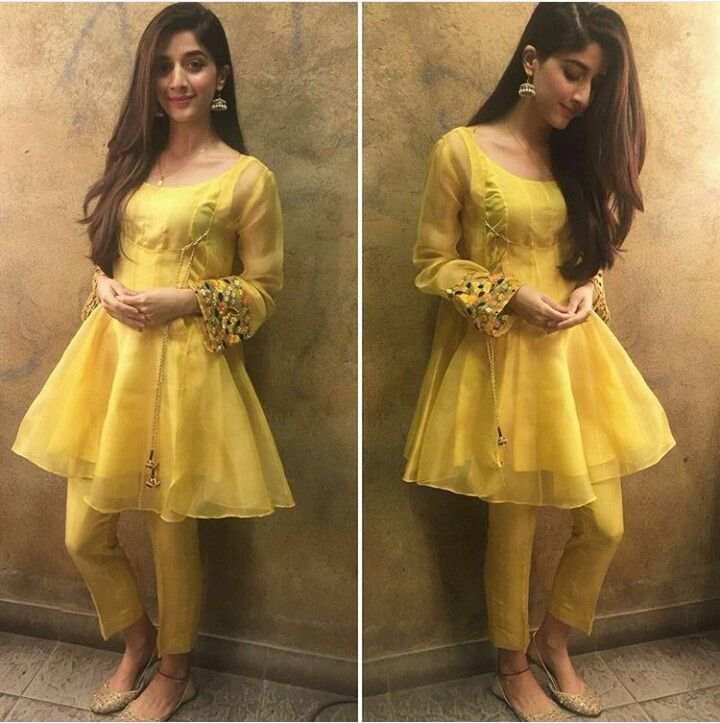 Pakistani actor Mawra Hocayne in an angrakha with a modern twist by Feeha Jamshed.