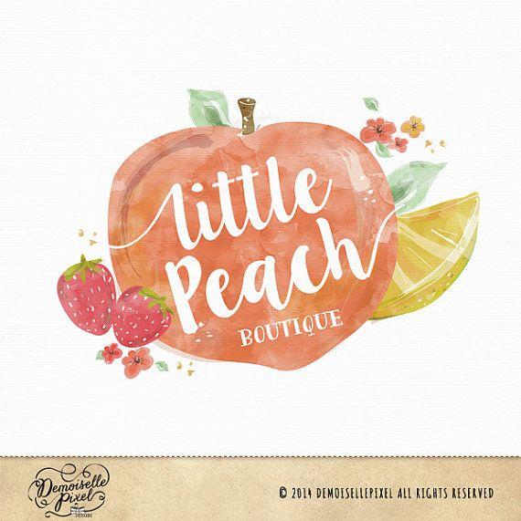 Watercolor Fruits Logo Peach, Strawberries, lemon, flowers - Custom Premade logo