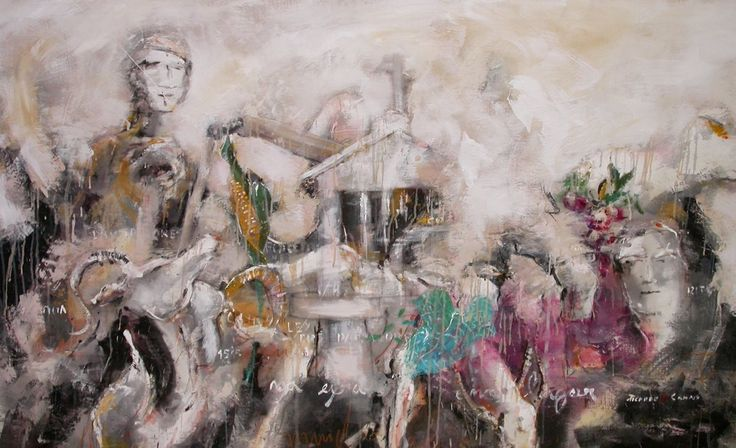 Lei dos partidores, original Human Figure Mixed Technique Painting by Ricardo de Campos
