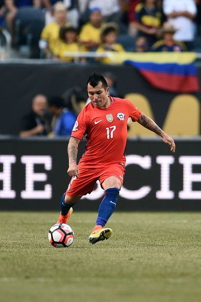 Gary Medel #17 of Chile passes the ball in the first half during a 2016 Copa America Centenario Semifinal match against Colombia at Soldier Field on June 22, 2016 in Chicago, Illinois.