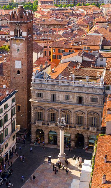 Piazza delle Erbe, Verona, Province of Verona, Veneto region Italy .
