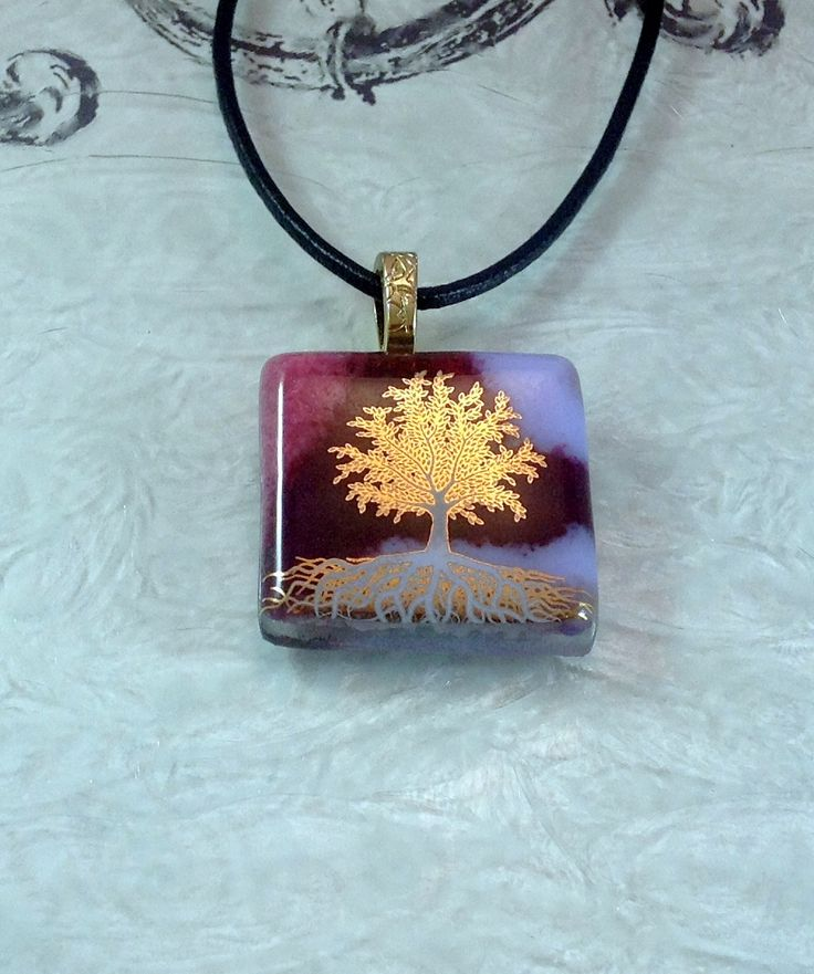 small gold tree of life fused glass