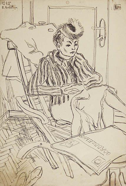 Kobieta w fotelu, 1945  Autor:Rosenstein Erna (1913 - 2004) Rozmiary:21.4 x 14.8 cm Technika:atrament, pióro, papier kremowy