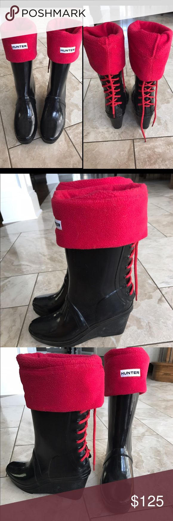 Lace up HUNTER wedge boots with socks Black gently worn hunter wedges.  Red lace up the back. Comes with red fleece hunter socks! Size 7F. No trades. Hunter Shoes Winter & Rain Boots