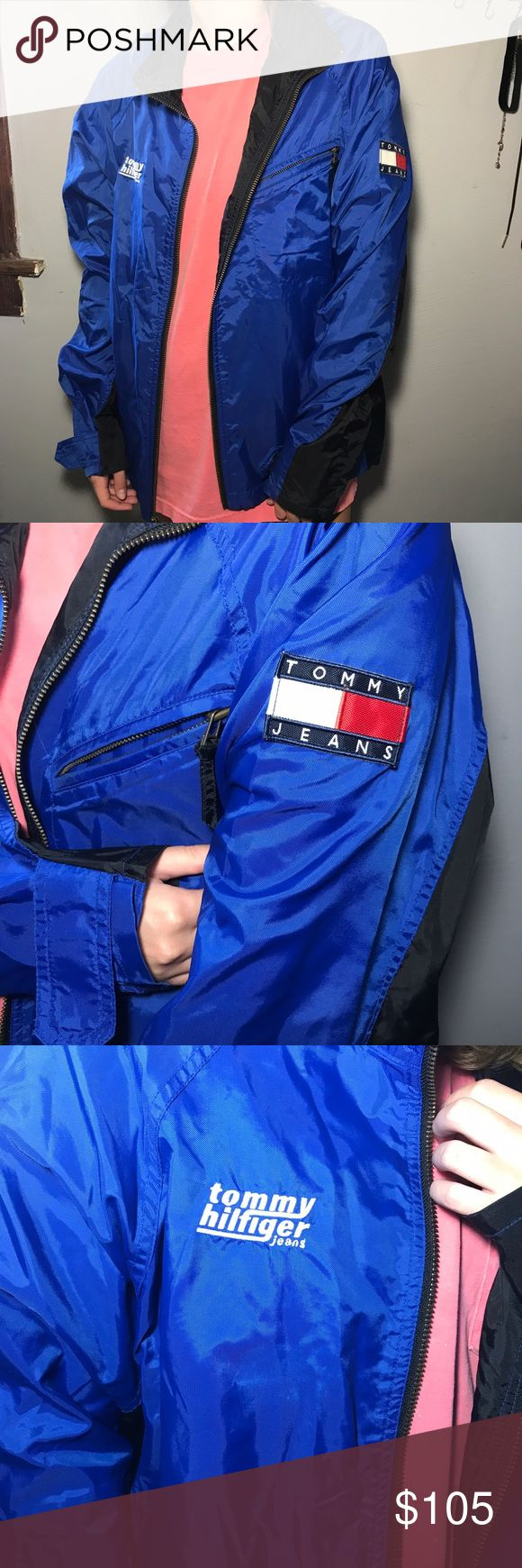 Vintage Tommy Hilfiger Windbreaker Perfect condition! Model is 5'2 and it hits at her waist.  Make me an offer! Tommy Hilfiger Jackets & Coats Windbreakers