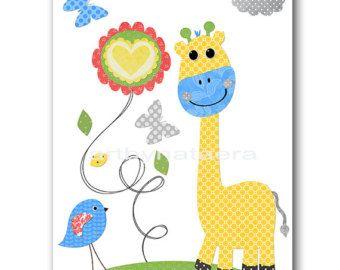 Jirafa gris verde amarillo azul vivero lámina bebé niño vivero niños impresión arte niños niños impresión arte de la pared Kids Room Decor
