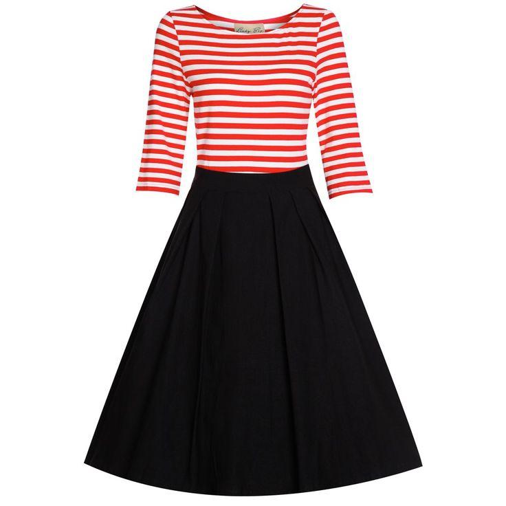 'Josefine' Red Black Swing Dress