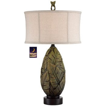 """Our collection of beach lamps feature coastal designs with beach style. This <span style=""""font-weight: bold;"""">tropical </span>lamp base is features banana leaves. It is a stylish classic looking piece that provides a sophisticated tropical accent for any room. <br /> <br /> <br /> Lamp Measures:33.5inch H<br /> Shade Measures:18x18x10""""%3..."""