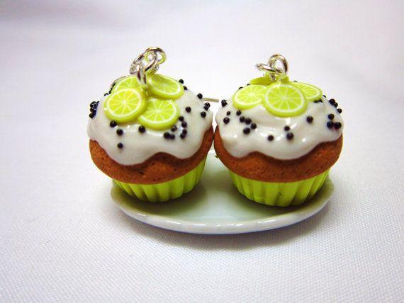 Lemon Poppy Seed Cupcake Polymer Clay Kawaii Dangle Earrings