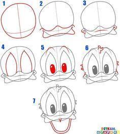 Afbeeldingsresultaat voor donald duck tekenen in stappen