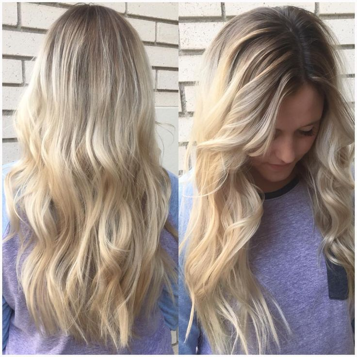 My client was platinum blonde all over but her natural color is a medium brown…