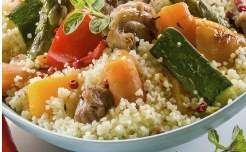 couscous met groente en roerbakreepjes