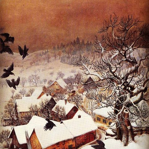 """Wait a second... I thought it's a Dix Page?! And Yes! This, too, is an Otto Dix painting from 1935 titled: """"Randegg in the snow with ravens"""" Dix worked on a couple of winterly landscape paintings during his time at Schloss Randegg, a place he and his family were granted shelter and protection from the Nazis after Hitler seized power in Germany. With the rise of the National Socialists in 1933, Dix was dismissed from his teaching post at the Dresden Academy. He moved south and was only…"""