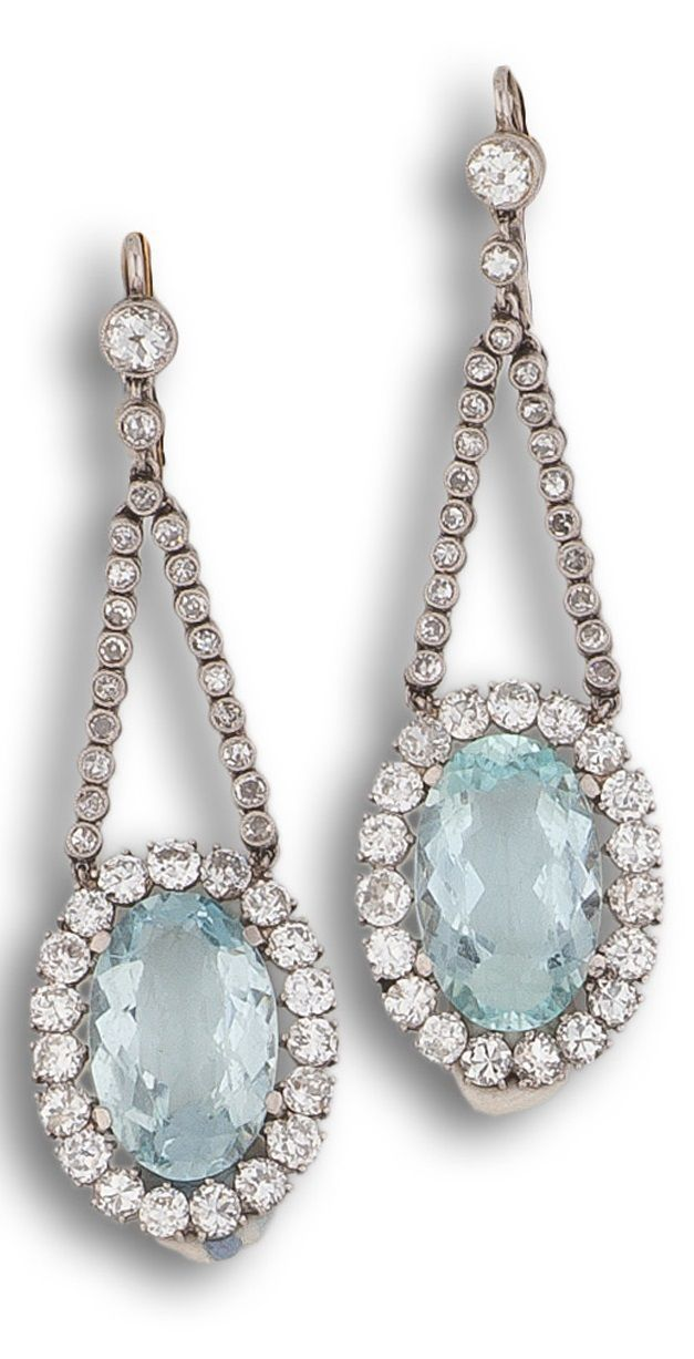 6a59e06443874 A pair of Art Deco platinum, aquamarine and diamond pendant earrings ...